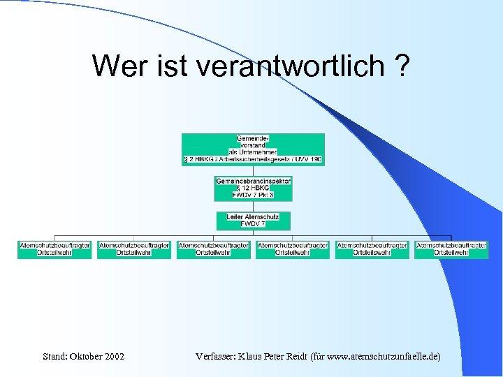Wer ist verantwortlich ? Stand: Oktober 2002 Verfasser: Klaus Peter Reidt (für www. atemschutzunfaelle.