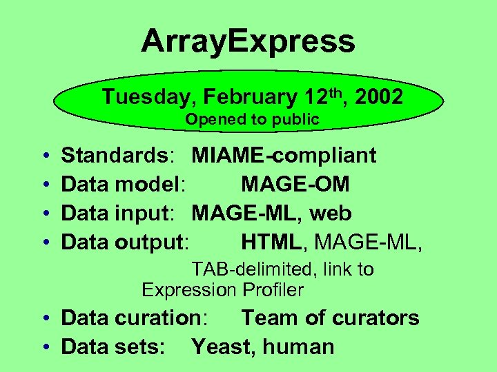 Array. Express Tuesday, February 12 th, 2002 Opened to public • • Standards: MIAME-compliant
