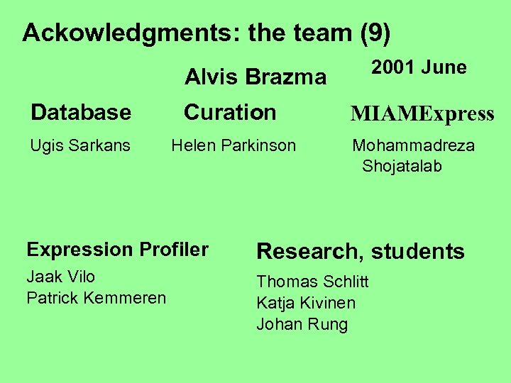 Ackowledgments: the team (9) 2001 June Alvis Brazma Database Curation Ugis Sarkans Helen Parkinson