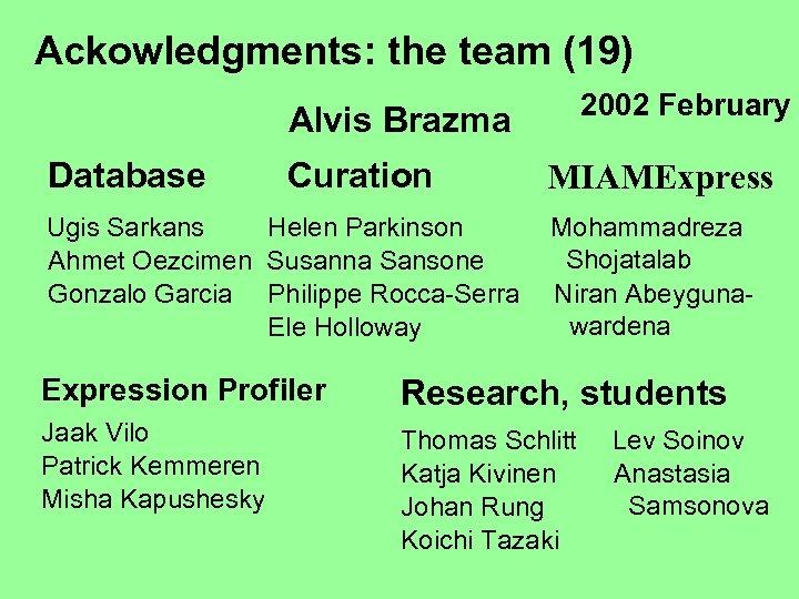 Ackowledgments: the team (19) 2002 February Alvis Brazma Database Curation Ugis Sarkans Helen Parkinson