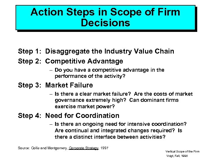 Action Steps in Scope of Firm Decisions Step 1: Disaggregate the Industry Value Chain