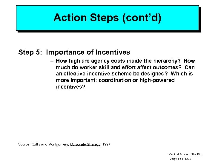 Action Steps (cont'd) Step 5: Importance of Incentives – How high are agency costs