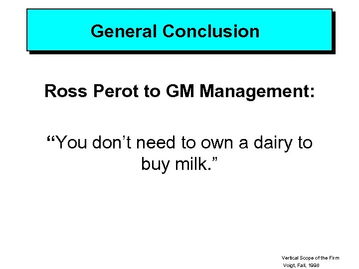 """General Conclusion Ross Perot to GM Management: """"You don't need to own a dairy"""
