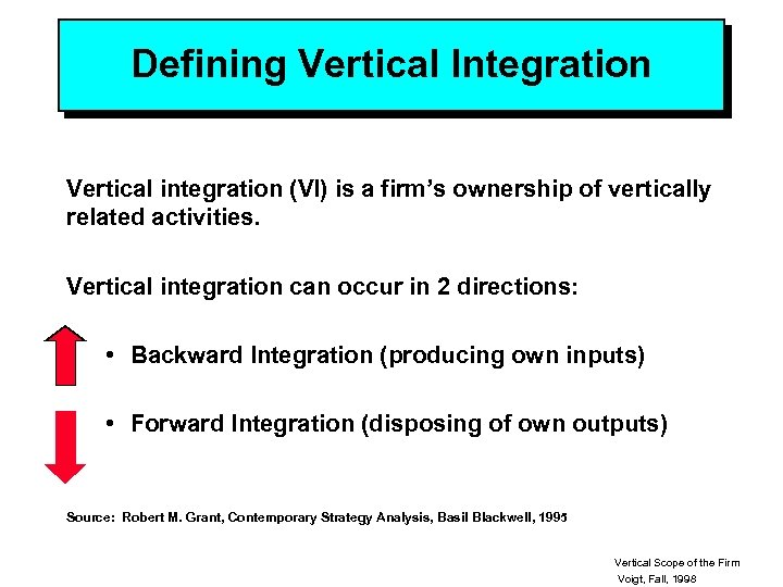 Defining Vertical Integration Vertical integration (VI) is a firm's ownership of vertically related activities.