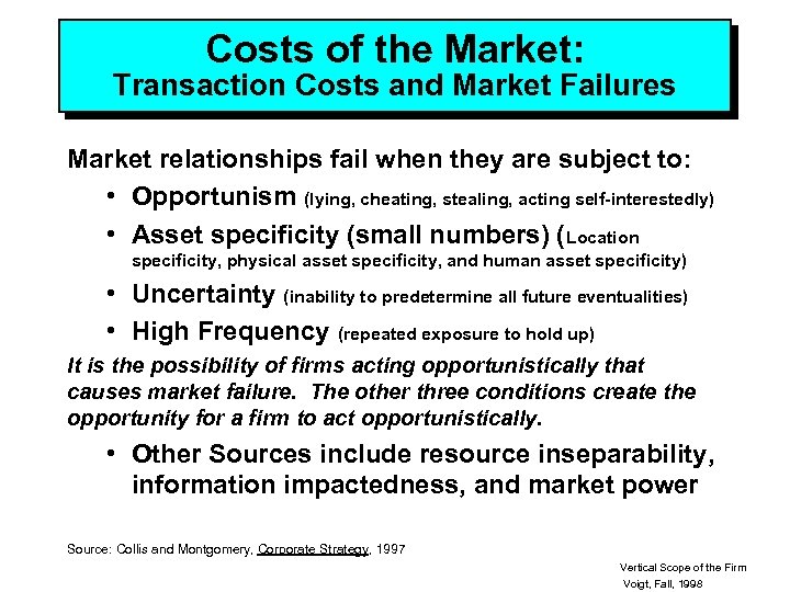 Costs of the Market: Transaction Costs and Market Failures Market relationships fail when they