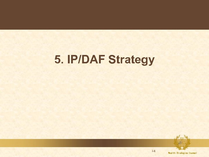 5. IP/DAF Strategy 24 Wealth Strategies Counsel