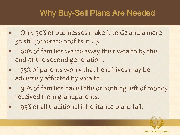 Why Buy-Sell Plans Are Needed Only 30% of businesses make it to G 2