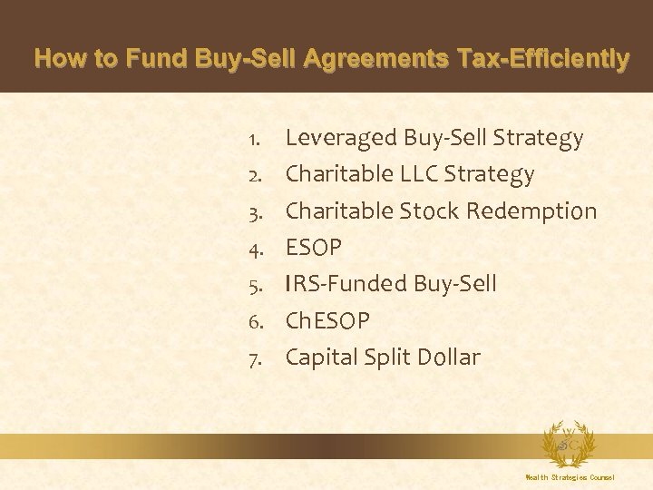 How to Fund Buy-Sell Agreements Tax-Efficiently 1. 2. 3. 4. 5. 6. 7. Leveraged