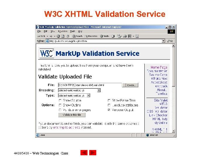 W 3 C XHTML Validation Service 4410/5410 – Web Technologies Class