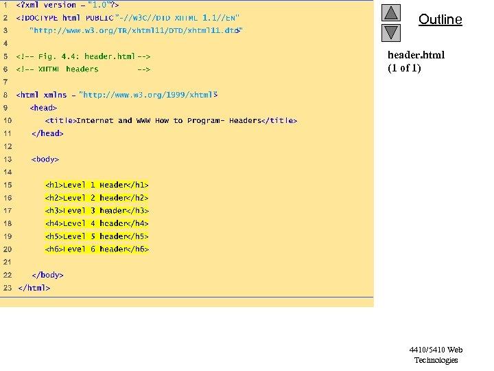 Outline header. html (1 of 1) 4410/5410 Web Technologies
