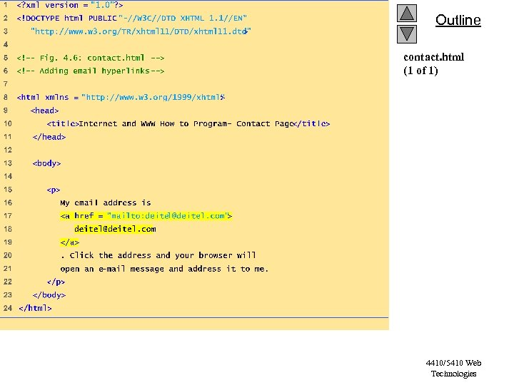 Outline contact. html (1 of 1) 4410/5410 Web Technologies