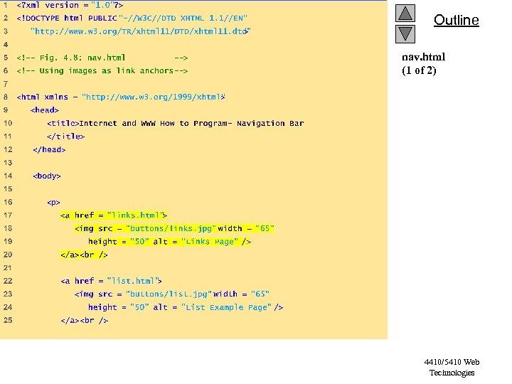 Outline nav. html (1 of 2) 4410/5410 Web Technologies