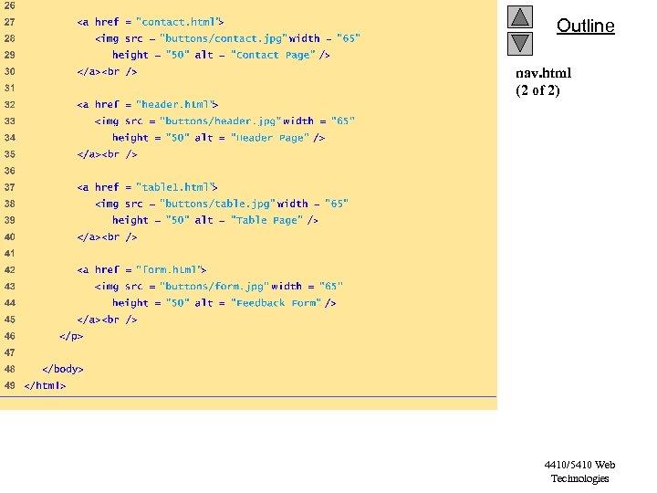 Outline nav. html (2 of 2) 4410/5410 Web Technologies