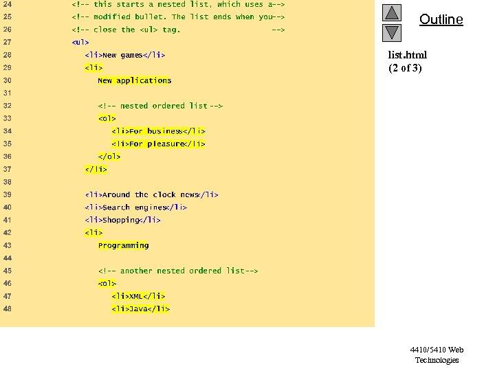 Outline list. html (2 of 3) 4410/5410 Web Technologies