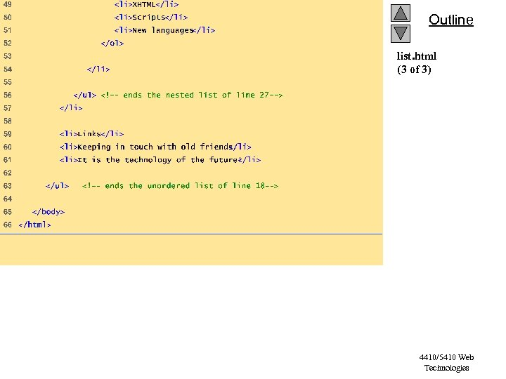 Outline list. html (3 of 3) 4410/5410 Web Technologies
