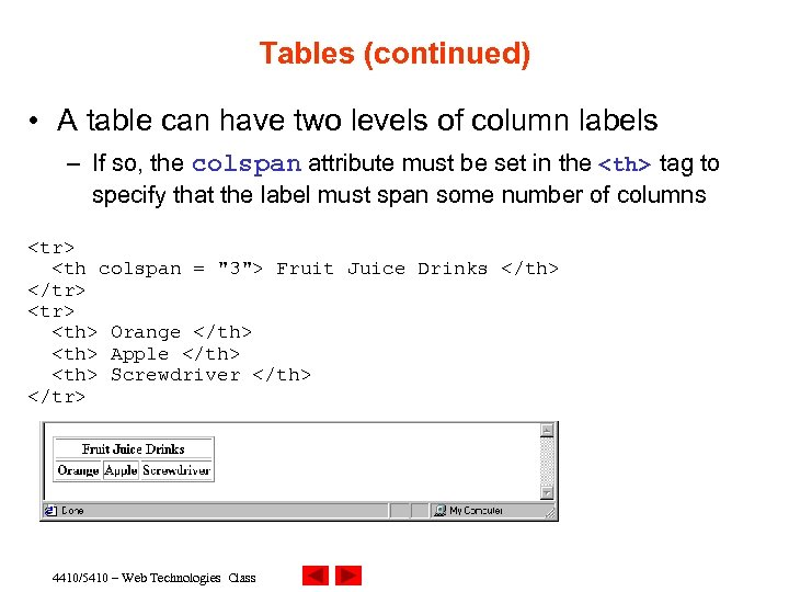 Tables (continued) • A table can have two levels of column labels – If