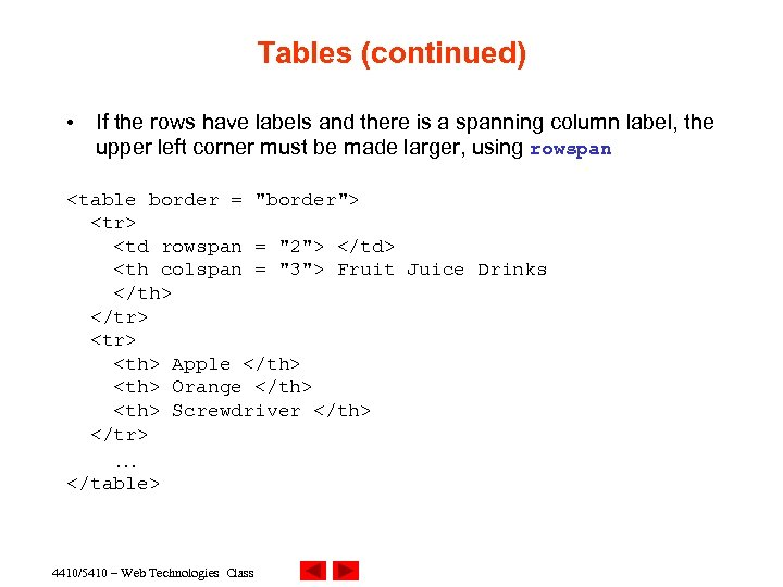 Tables (continued) • If the rows have labels and there is a spanning column