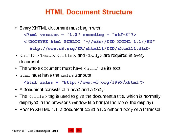 HTML Document Structure • Every XHTML document must begin with: <? xml version =