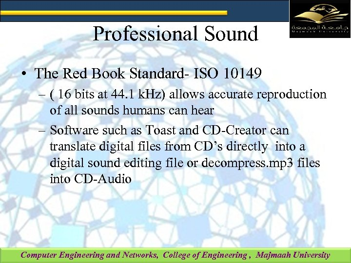 Professional Sound • The Red Book Standard- ISO 10149 – ( 16 bits at