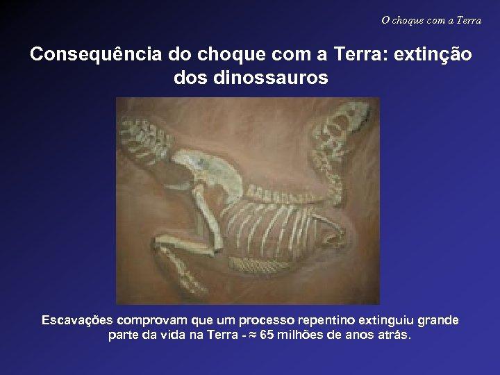 O choque com a Terra Consequência do choque com a Terra: extinção dos dinossauros