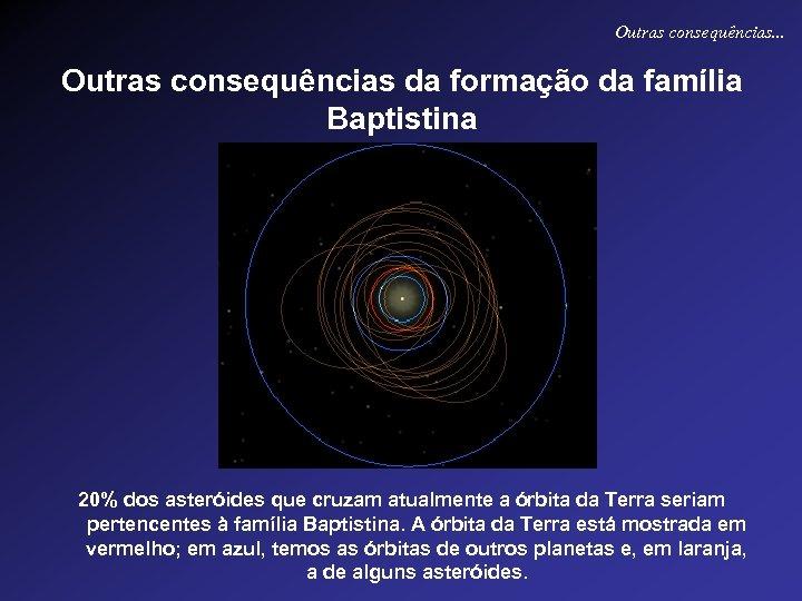 Outras consequências. . . Outras consequências da formação da família Baptistina 20% dos asteróides