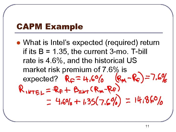 CAPM Example l What is Intel's expected (required) return if its B = 1.