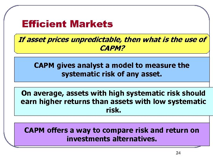 Efficient Markets If asset prices unpredictable, then what is the use of CAPM? CAPM