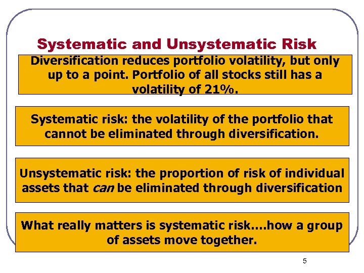 Systematic and Unsystematic Risk Diversification reduces portfolio volatility, but only up to a point.