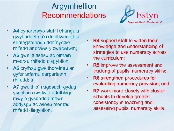 Argymhellion Recommendations • A 4 cynorthwyo staff i ehangu'u gwybodaeth a'u dealltwriaeth o strategaethau