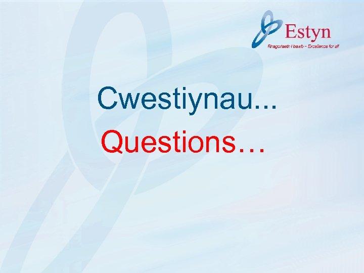 Cwestiynau. . . Questions…
