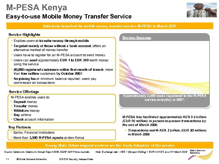 M-PESA Kenya Easy-to-use Mobile Money Transfer Service Safaricom launched its mobile money transfer service