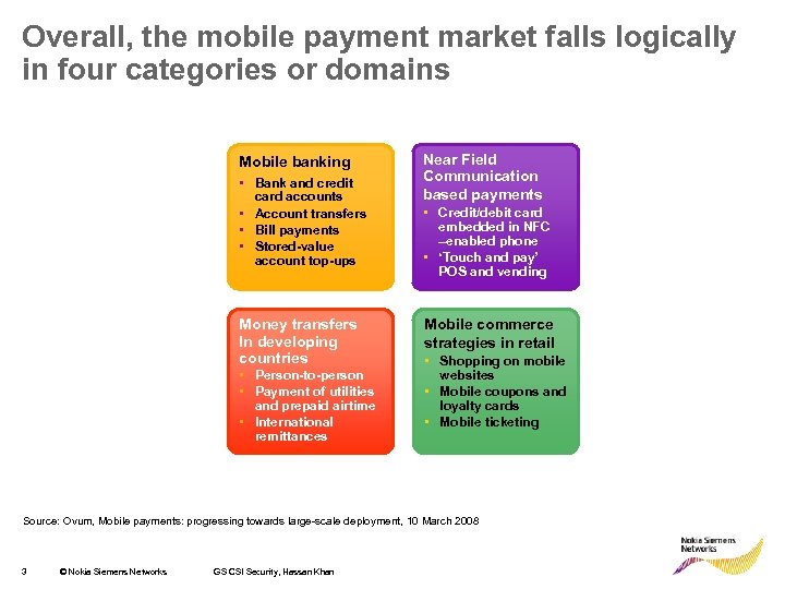Overall, the mobile payment market falls logically in four categories or domains Mobile banking