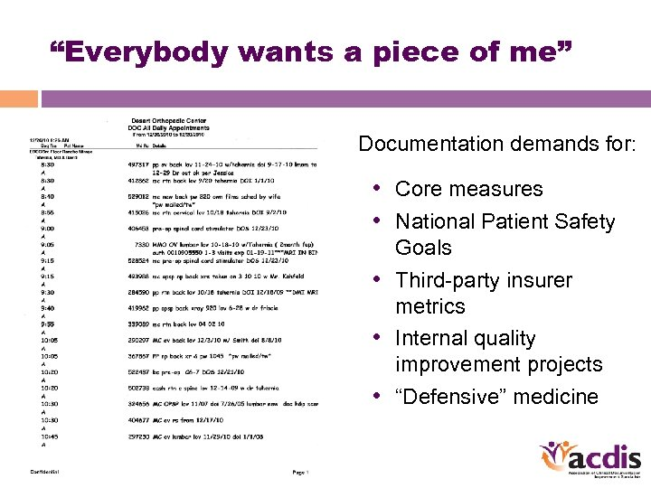 """""""Everybody wants a piece of me"""" Documentation demands for: • Core measures • National"""