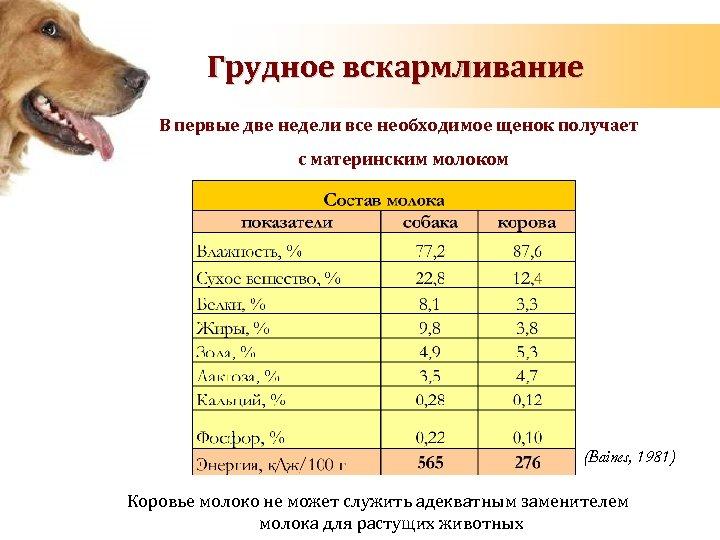 Грудное вскармливание В первые две недели все необходимое щенок получает с материнским молоком (Baines,