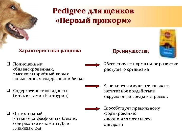 Pedigree для щенков «Первый прикорм» Характеристики рациона q Полноценный, сбалансированный, высококалорийный корм с повышенным