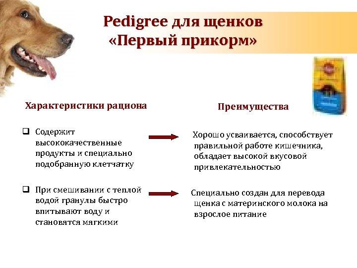 Pedigree для щенков «Первый прикорм» Характеристики рациона Преимущества q Содержит высококачественные продукты и специально
