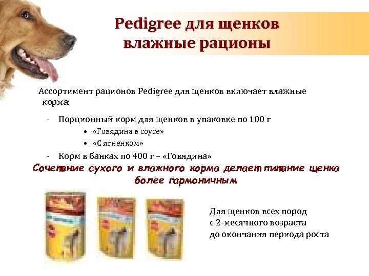 Pedigree для щенков влажные рационы Ассортимент рационов Pedigree для щенков включает влажные корма: -