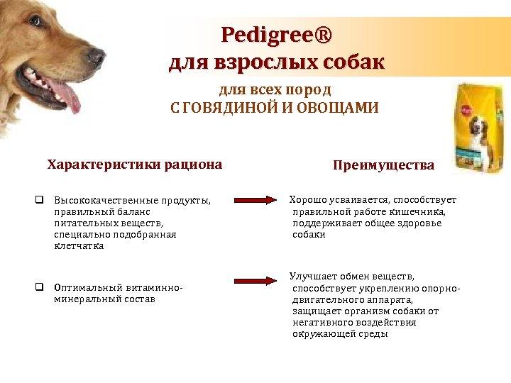 Pedigree® для взрослых собак для всех пород С ГОВЯДИНОЙ И ОВОЩАМИ Характеристики рациона q