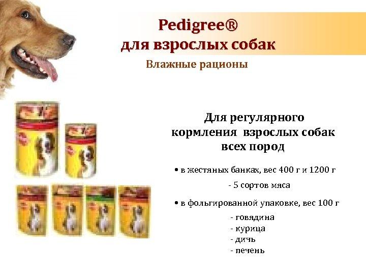 Energy requirements of dog Pedigree® during pregnancy and lactation для взрослых собак Влажные рационы