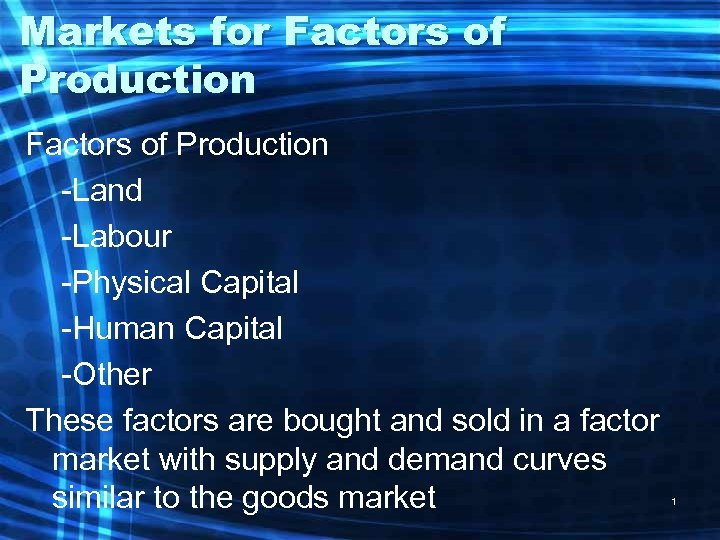 Markets for Factors of Production -Land -Labour -Physical Capital -Human Capital -Other These factors
