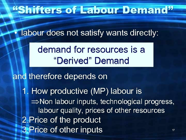 """Shifters of Labour Demand"" • labour does not satisfy wants directly: demand for resources"