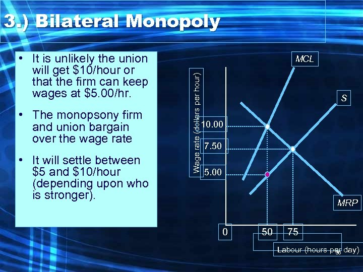 3. ) Bilateral Monopoly • The monopsony firm and union bargain over the wage