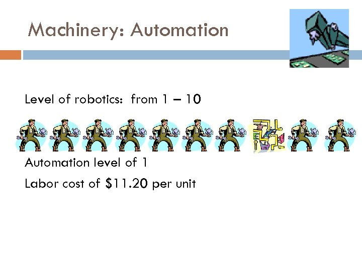 Machinery: Automation Level of robotics: from 1 – 10 Automation level of 1 Labor