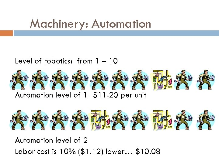 Machinery: Automation Level of robotics: from 1 – 10 Automation level of 1 -