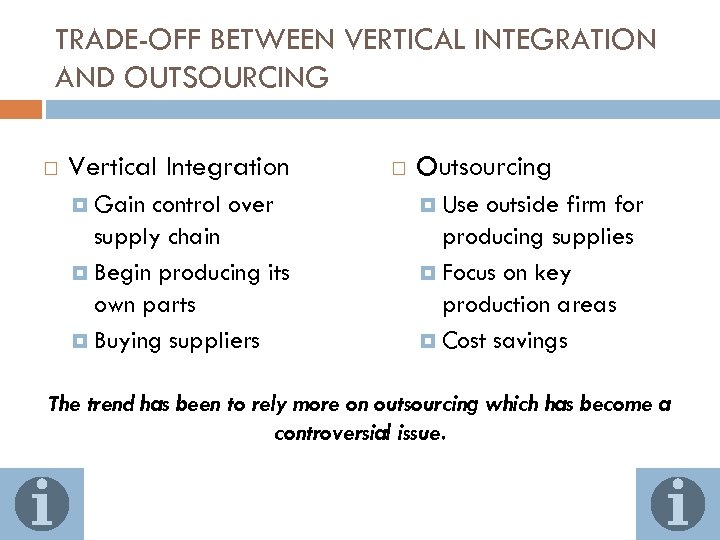 TRADE-OFF BETWEEN VERTICAL INTEGRATION AND OUTSOURCING Vertical Integration Gain control over supply chain Begin