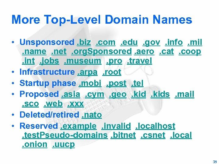 More Top-Level Domain Names • Unsponsored. biz . com . edu . gov .