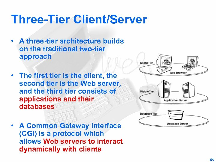 Three-Tier Client/Server • A three-tier architecture builds on the traditional two-tier approach • The
