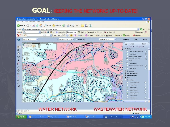 GOAL: KEEPING THE NETWORKS UP-TO-DATE! WATER NETWORK WASTEWATER NETWORK