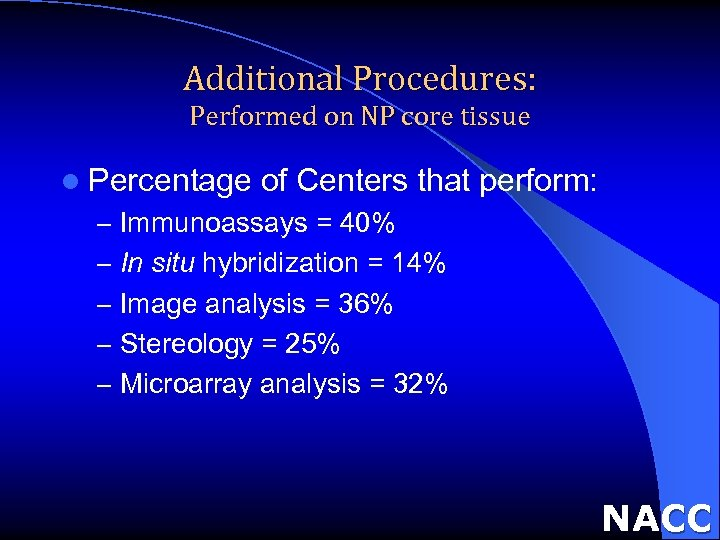 Additional Procedures: Performed on NP core tissue l Percentage of Centers that perform: –