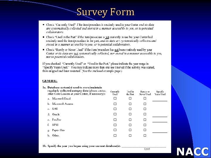 Survey Form NACC
